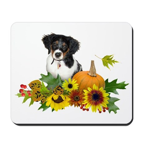 Fall Flowers Puppy Mousepad