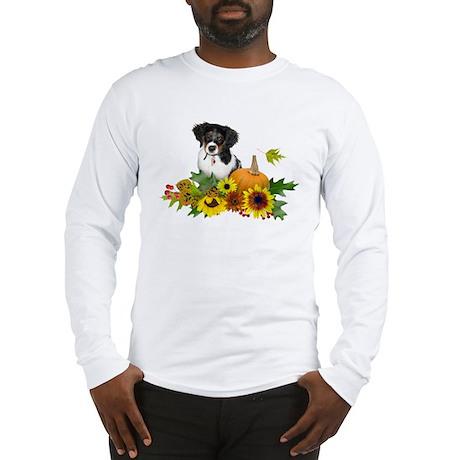 Fall Flowers Puppy Long Sleeve T-Shirt