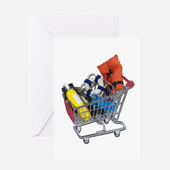 Shopping Cart full of Water Sports Equipment Greet