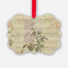 Vintage Romantic pink rose and music score Ornament