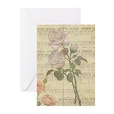 Vintage Romantic pink rose and music score Greetin