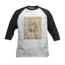 Vintage Romantic pink rose and music score Tee
