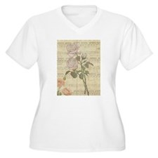 Vintage Romantic pink rose and music score T-Shirt