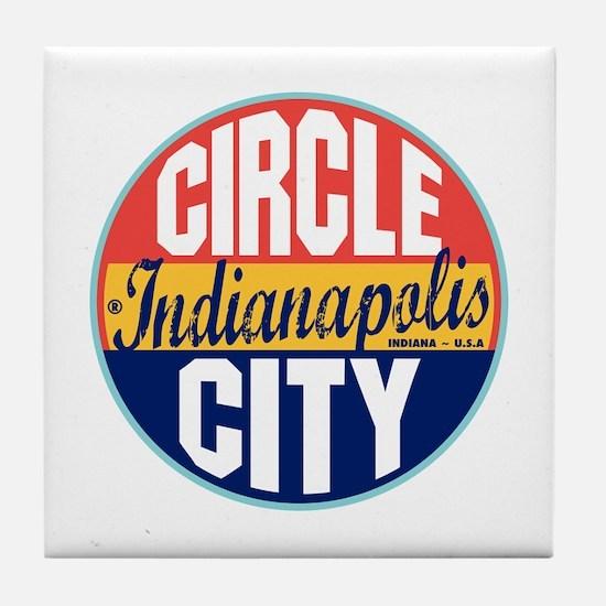 Indianapolis Vintage Label Tile Coaster
