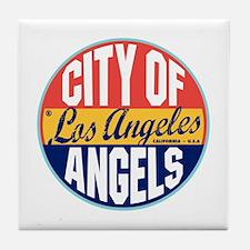 Los Angeles Vintage Label Tile Coaster
