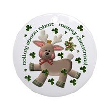 Irish/English Reindeer Ornament (Round)
