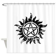 Cracked Anti-Possession Symbol Black Shower Curtai