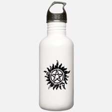 Cracked Anti-Possession Symbol Black Water Bottle