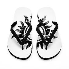 Cracked Anti-Possession Symbol Black Flip Flops
