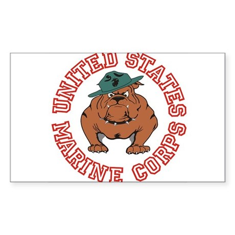 USMC Bulldog Sticker (Rectangle)
