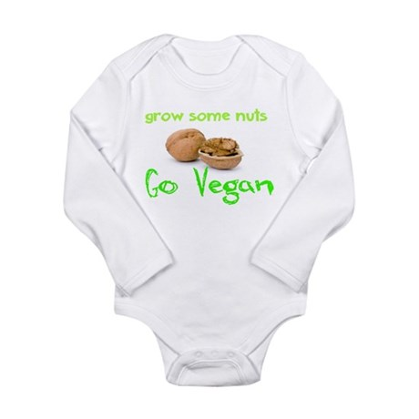 Go Vegan grow some nuts 1 Long Sleeve Infant Bodys