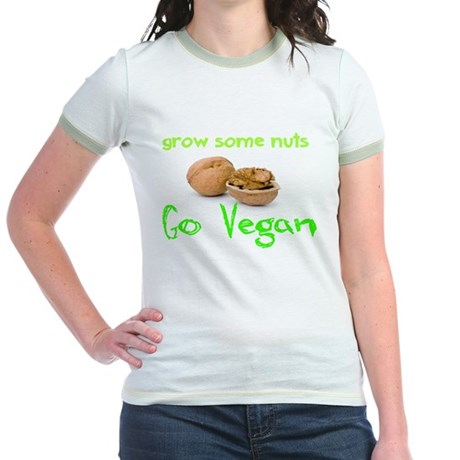Go Vegan grow some nuts 1 Jr. Ringer T-Shirt