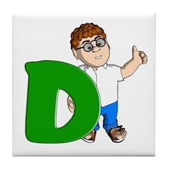 Letter D character Tile Coaster