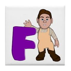 Letter F Character Tile Coaster