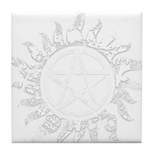 Cracked Anti-Possession Symbol Light Tile Coaster