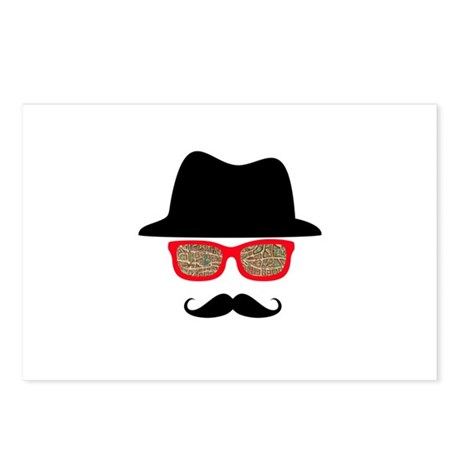Hat Mustache Glasses Postcards (Package of 8)
