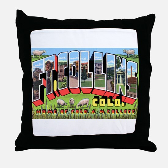 Fort Collins Colorado Greetings Throw Pillow