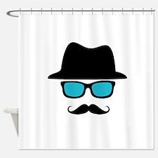 Hat Blue Glasses Mustache Shower Curtain