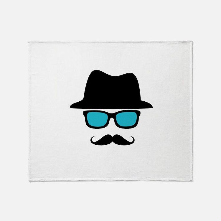 Hat Blue Glasses Mustache Throw Blanket