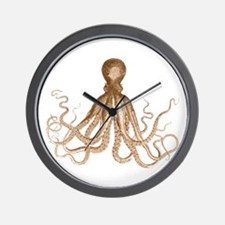 Brown Octopus Wall Clock