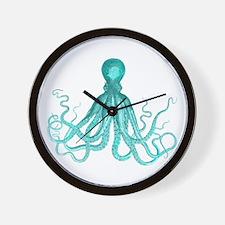 Blue/Green Octopus Wall Clock