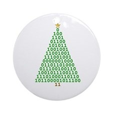 Binary Merry Christmas Ornament (Round)