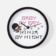 Baby Ninja Pink Wall Clock