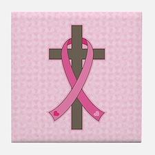 Breast Cancer Cross Tile Coaster
