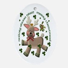 Irish/English Christmas Reindeer Oval Ornament