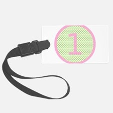 Pink and Mint Green First Birthday ONE Luggage Tag