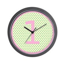 Pink and Mint Green First Birthday ONE Wall Clock