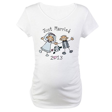 Stick Just Married 2013 Maternity T-Shirt