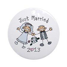Stick Just Married 2013 Ornament (Round)