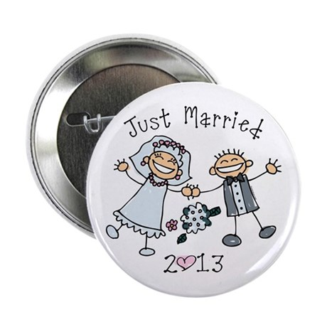 """Stick Just Married 2013 2.25"""" Button"""