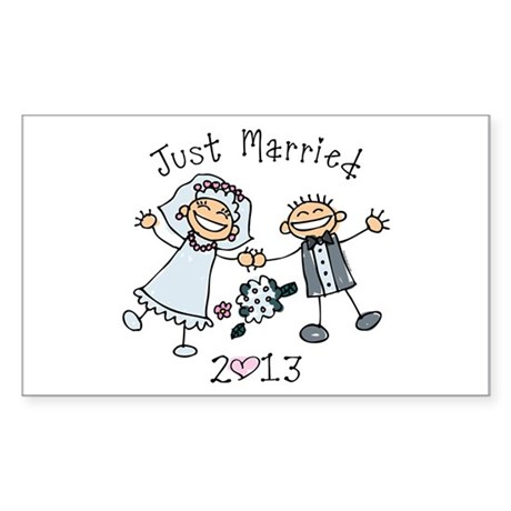 Stick Just Married 2013 Sticker (Rectangle)