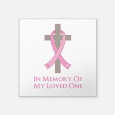 "In Memory Cross Square Sticker 3"" x 3"""