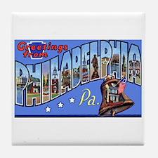 Philadelphia Pennsylvania Greetings Tile Coaster