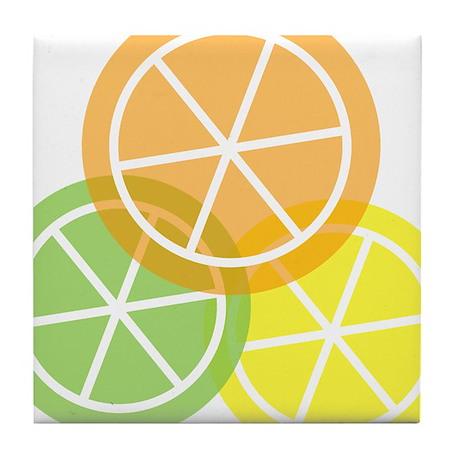 Summer Citrus Orange Lime Lemon Tile Coaster