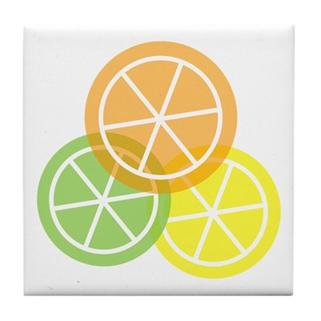 Summer Citrus Orange Lime Lemon Tile Coaster