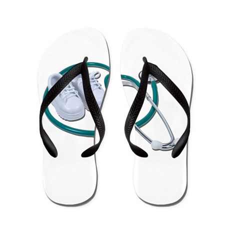 Stethoscope and White Shoes Flip Flops
