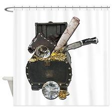 Treasure Chest Map Dagger Shower Curtain