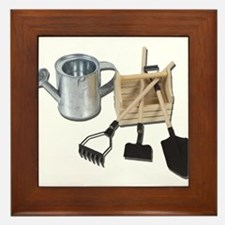 Watering Can Tools Crate Framed Tile