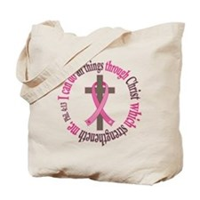 Phil 4:13 Breast Cancer Tote Bag