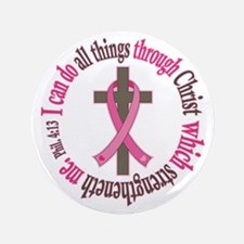 "Phil 4:13 Breast Cancer 3.5"" Button (100 pack)"
