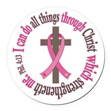 Phil 4:13 Breast Cancer Round Car Magnet