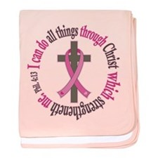 Phil 4:13 Breast Cancer baby blanket