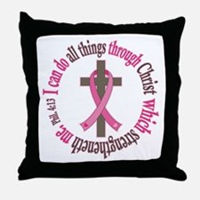 Phil 4:13 Breast Cancer Throw Pillow