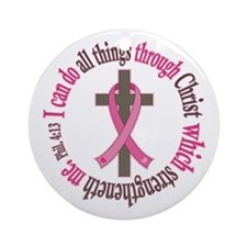 Phil 4:13 Breast Cancer Ornament (Round)