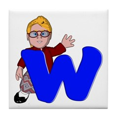 Letter W Character Tile Coaster