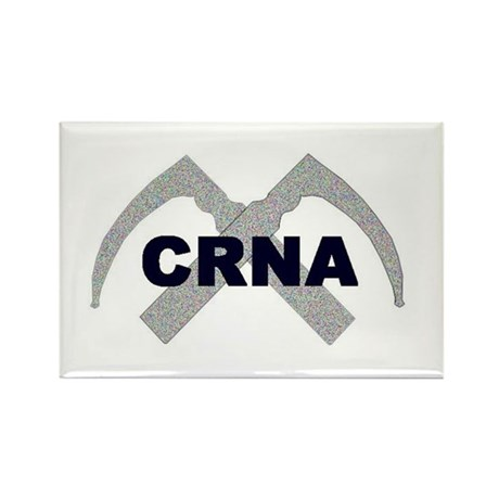 Rectangle Magnet with CRNA and laryngoscopes.
